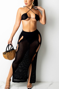 Black Sexy Solid Hollowed Out Split Joint Frenulum Backless Swimwears
