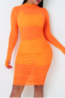 Tangerine Red Sexy Solid Split Joint See-through Fold O Neck Long Sleeve Three Pieces