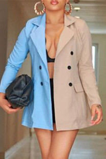 Multicolor Fashion Casual Patchwork Cardigan Turn-back Collar Outerwear