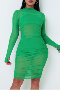 Green Sexy Solid Split Joint See-through Fold O Neck Long Sleeve Three Pieces
