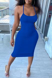 Blue Fashion Sexy Solid Backless Spaghetti Strap Sleeveless Dress