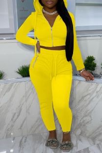 Yellow Fashion Casual Solid Zipper Hooded Collar Long Sleeve Two Pieces