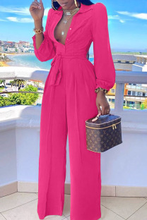 Rose Red Casual Solid Split Joint Buttons Turndown Collar Straight Jumpsuits