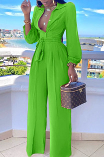 Green Casual Solid Split Joint Buttons Turndown Collar Straight Jumpsuits