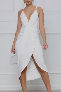 White Elegant Solid Split Joint Fold Asymmetrical Spaghetti Strap Sling Dress Dresses
