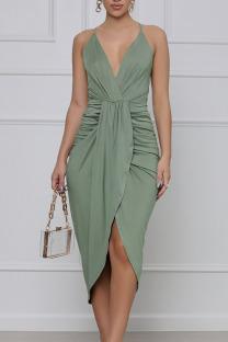 Green Elegant Solid Split Joint Fold Asymmetrical Spaghetti Strap Sling Dress Dresses