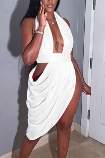 White Sexy Solid Hollowed Out Split Joint Fold Asymmetrical Halter Evening Dress Dresses