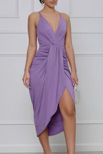 Purple Elegant Solid Split Joint Fold Asymmetrical Spaghetti Strap Sling Dress Dresses