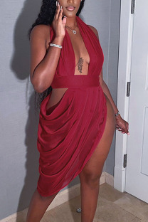 Red Sexy Solid Hollowed Out Split Joint Fold Asymmetrical Halter Evening Dress Dresses