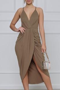 Brown Elegant Solid Split Joint Fold Asymmetrical Spaghetti Strap Sling Dress Dresses