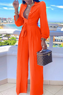 Tangerine Red Casual Solid Split Joint Buttons Turndown Collar Straight Jumpsuits
