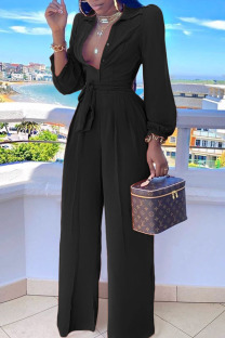 Black Casual Solid Split Joint Buttons Turndown Collar Straight Jumpsuits