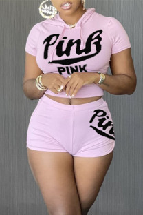 Pink Fashion Letter Print Basic Hooded Collar Short Sleeve Two Pieces