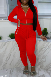 Red Fashion Casual Solid Zipper Hooded Collar Long Sleeve Two Pieces