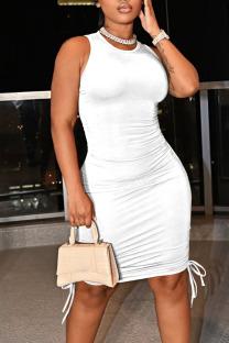White Casual Solid Split Joint Frenulum Fold O Neck Pencil Skirt Dresses
