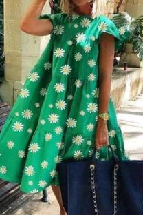 Fruit Green Casual Print Split Joint O Neck Cake Skirt Dresses