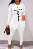 White Casual Print Split Joint Slit O Neck Long Sleeve Two Pieces