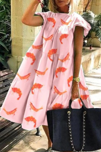 Pink Casual Print Split Joint O Neck Cake Skirt Dresses