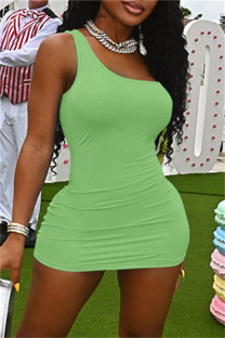 Green Sexy Casual Solid Backless One Shoulder Sleeveless Dress