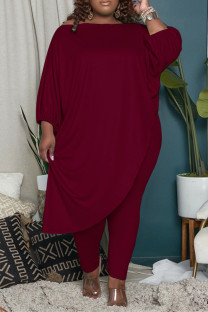 Burgundy Fashion Casual Solid Asymmetrical Oblique Collar Plus Size Two Pieces