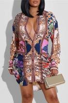 Multicolor Fashion Casual Print Basic Turndown Collar Long Sleeve Shirt Dress