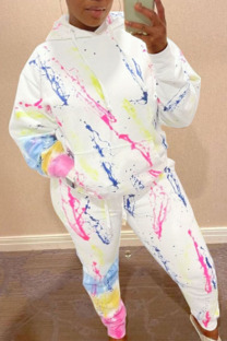 White Casual Print Split Joint Hooded Collar Long Sleeve Two Pieces