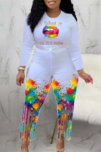 White Casual Print Tassel Split Joint O Neck Long Sleeve Two Pieces