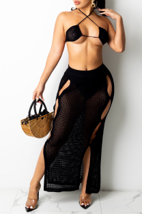 Black Sexy Solid Hollowed Out Split Joint Swimwears