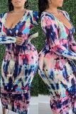 Purple Fashion Casual Print Basic V Neck Long Sleeve Dresses