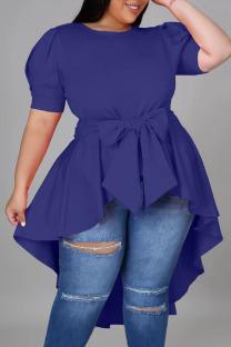 Blue Casual Solid Bandage Split Joint Asymmetrical O Neck Irregular Dress Dresses
