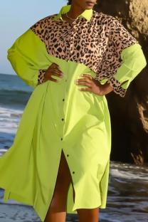 Green Casual Leopard Split Joint Turndown Collar Shirt Dress Dresses