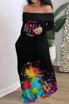 Blue Black Casual Print Split Joint Off the Shoulder Straight Dresses