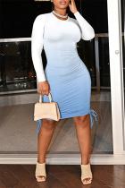 Blue Fashion Casual Gradual Change Print Bandage O Neck Long Sleeve Dresses