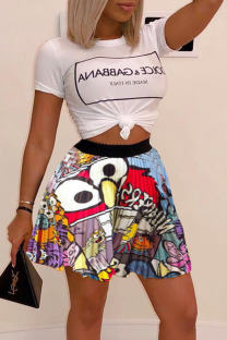 Multicolor Casual Print Split Joint O Neck Short Sleeve Two Pieces