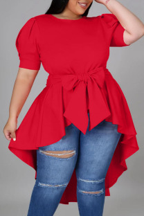Red Casual Solid Bandage Split Joint Asymmetrical O Neck Irregular Dress Dresses