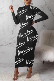 Black Sexy Print Letter Half A Turtleneck Pencil Skirt Dresses