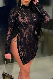 Black Sexy Solid Split Joint See-through Zipper Zipper Collar Pencil Skirt Dresses
