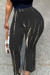 Black Casual Print Split Joint Straight High Waist Wide Leg Full Print Bottoms