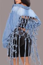 Light Blue Casual Solid Hollowed Out Turndown Collar Long Sleeve Regular Denim Jacket