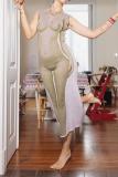 Grey Sexy Print Split Joint O Neck Pencil Skirt Dresses