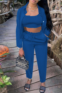Peacock Blue Casual Solid Split Joint Strapless Long Sleeve Two Pieces