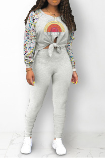 Grey Street Print Bandage Split Joint O Neck Long Sleeve Two Pieces