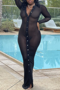 Black Sexy Solid See-through Mesh Swimwears Cover Up