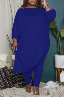 Blue Fashion Casual Solid Asymmetrical Oblique Collar Plus Size Two Pieces