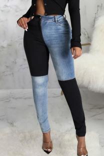 Black Casual Solid Split Joint Skinny Denim Jeans