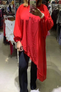 Red Sexy Casual Solid See-through Asymmetrical Half A Turtleneck Tops  (Without Belt)