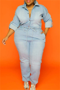 Baby Blue Fashion Casual Solid Hollowed Out Split Joint Chains Turndown Collar Plus Size Jumpsuits