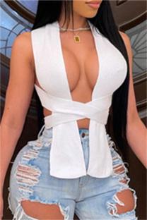 White Fashion Sexy Solid Bandage Square Collar Tops