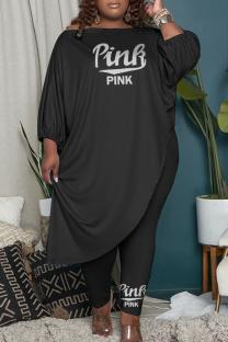 Black Fashion Casual Print Split Joint Asymmetrical O Neck Plus Size Two Pieces