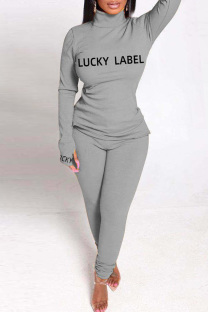 Grey Fashion Casual Letter Print Basic Turtleneck Long Sleeve Two Pieces